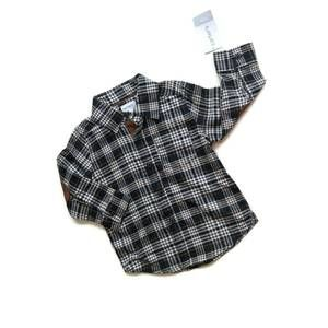 Carter's Black & Brown Plaid Shirt Elbow Patches
